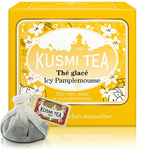 Kusmi Tea - BB Detox - Natural Green Tea with Yerba Mate, Rooibos, Guarana, Dandelion Infusion with a Hint of Grapefruit - All Natural Premium Loose Leaf Green Tea Enveloped in 10 Large Tea Bags