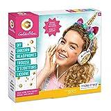 Make It Real - GoldieBlox DIY Unicorn Headphones Kids STEM Arts & Crafts - Includes Volume Limiting Headphones, Stickers, Sequins, Beads