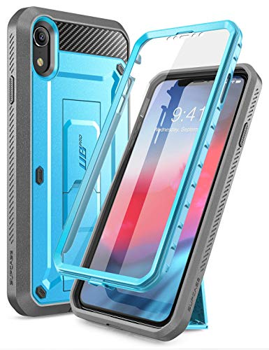 Supcase Unicorn Beetle Pro Series Case Designed for iPhone XR, with Built-in Screen Protector Full-Body Rugged Holster Case for iPhone XR 6.1 Inch (2018 Release) (Blue)