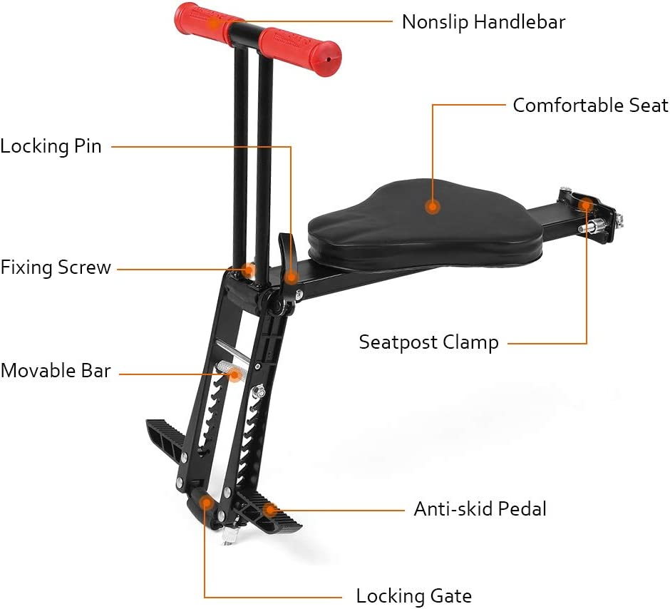 Sangmei Lightweight Foldable Child Bicycle Seat Kids Saddle Bicycle Bike Front Mount Children Safety Front Seat Saddle Carrier