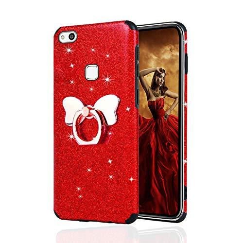 Misstars Glitzer Hülle für Huawei P10 Lite Rot, Bling Pailletten Weiche TPU Silikon Handyhülle Anti-Rutsch Kratzfest Schutzhülle mit Schmetterling Ring Ständer für Huawei P10 Lite