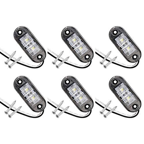 JZK 6 luces LED laterales blancas de 12 V 24 V, luz indicadora frontal, luz indicadora lateral, luces laterales LED para coches, remolques, autocaravanas, caravanas, caravanas, furgonetas, bicicletas