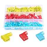 PONFY 120PCS Nylon Insulated Flag Spade Quick Disconnects Female Wire Connector 90 Degree Electrical Crimp Terminals Connector Assortment Set 22-18 16-14 12-10 Gauge