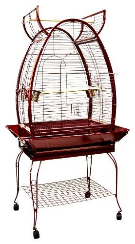Cage Connection® Ovaler Vogelkäfig mit Öffnung für Laufgitter, Burgunderrot mit Draht und Boden