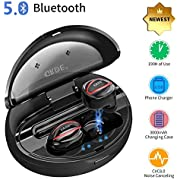 GRDE Wireless Earbuds, Bluetooth V5.0 in-ear Wireless Headphones TWS Stereo HiFi Headset with Charging Box Mic, 190H Playtime, LED Display Light, Waterproof Bluetooth Headset for Sports