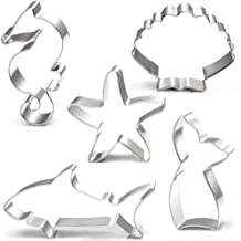 Mermaid Cookie Cutter Set - 5 Pcs - Mermaid Tail,Shark,Seahorse,Starfish and Seashell cookie cutters Molds for Kids Birthd...