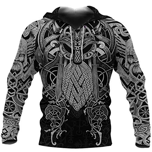 Viking Odin Tattoo Pullover Hoodie, Norse Mythology 3D Printed Thor's Hammer Mjolnir Celtic Wolf Totem Sweatshirt, Autumn Winter Long Sleeve Hooded with Pockets,D,S