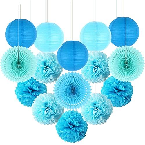 AFANGMQ 15 unids Color Mezclado Papel Decorativo Pompones Flor Colgando Linterna Linterna Panal Bolas Boda Cumpleaños Ducha Decoración de Fiesta (Color : Blue, Lantern Size : 10inch(25cm))