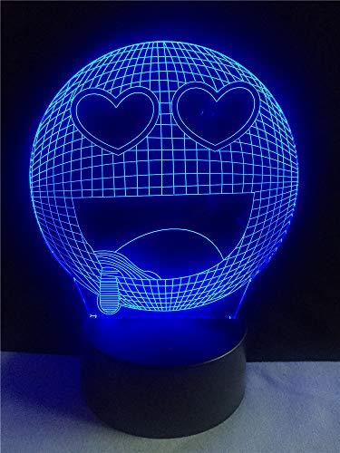 3D Lächle Emoji Optische Illusions-Lampen, 7 Farbwechsel berühren Tabelle Schreibtisch-Nachtlicht mit USB-Kabel Fernbedienung Für Schlafzimmer Home Decoration