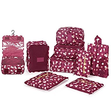 DOKEHOM 9 Set Packing Cubes Travel Organizers (Wine Red Flower)