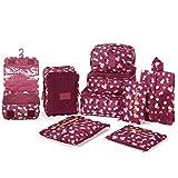 DOKEHOM 9 pezzi Organizer per valigie, Sistema di Cubo di Viaggio - Perfetto di Viaggio Dei Bagagli Organizzatore (Vino Rosso Fiore)