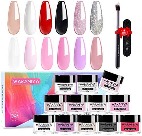 Wakaniya Dipping Powders, 12 Acrylic Dip Powder 0,35 Unzen/Flasche Nagel Pulver mit Nagelfeile Pinsel French Manicure Set für Salon Nägel Kunst- und Nagelanfänger DIY Nails No UV/LED Lamp