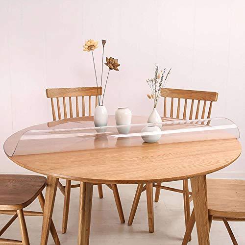 Bove Protector De Mesa De Plástico Transparente, Cubierta De Mantel De PVC, Manteles De Vinilo, Fácil Limpieza, Impermeable para Comedor, Sala De Estar-2.0MM-130circulo