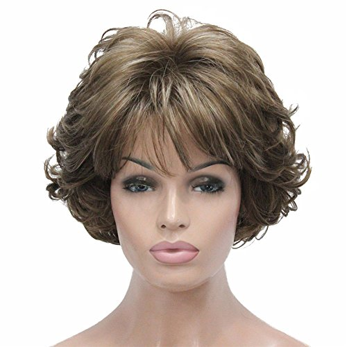 Aimole Short Curly Synthetic Wigs Full Capless Hair Women's Thick Wig for Everyday 12TT26 Brown Highlighted