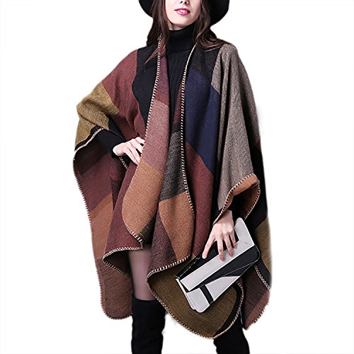 JLTPH Women Ladies Girls Stylish Plaid Checked Knitted Winter Tartan Cape Poncho Shawl Wrap Cardigans