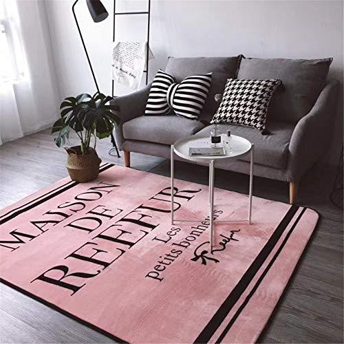 Mishxh tapijt, eenvoudige stijl, roze, antislip, waterdicht, zacht en wollig, geschikt voor woonkamer, slaapkamer, keuken, hal. 140x200cm