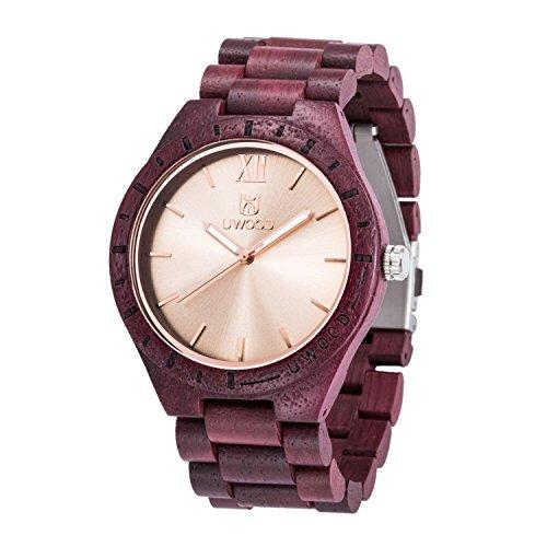 Orologio da polso in vero legno di rosa, realizzato a mano nel Regno Unito.