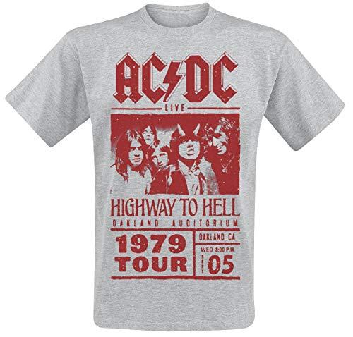 Générique AC/DC Highway to Hell - Red Photo - 1979 Tour Homme T-Shirt Manches Courtes Gris chiné S