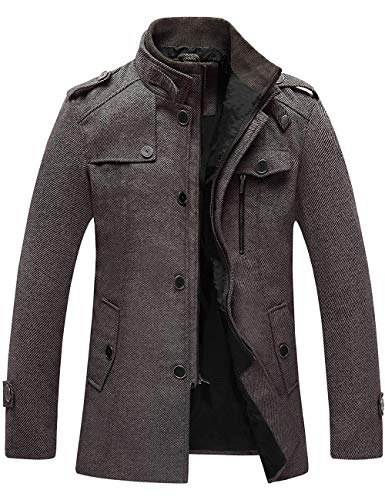 Wantdo Men's Wool Autumn Trench Coat Windproof Jacket Overcoat Coffee Large