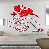 guijiumai Sticker Mural Vinyle Sticker Mural Fleur Orchidea Belle Fleur Cerise Branche Repetable Affiche Yt 2 57X70CM