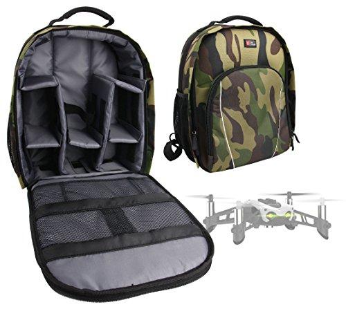 DURAGADGET Mochila Camuflaje con Compartimentos Desmontables para Dron Parrot Mambo + Funda Impermeable