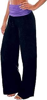UUYUK Women's Casual Fold Over Waist Yoga Wide Leg Palazzo Lounge Pants