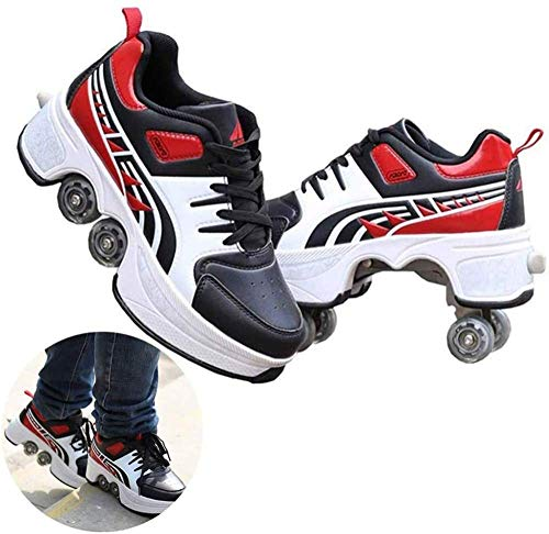 FTYUNWE Zapatos Multiusos 2 En 1 Botas De De 4 Ruedas con Ruedas Ajustables Automática Calzado De Skateboarding Deportes De Exterior Patines En Línea,Black-33
