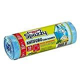 Domopak Spazzy Sacchi Nettezza Antiforo con Manici - Profumato alla Brezza Alpina - Casalingo 28 lt - Azzurro - 1 confezione da 15 pezzi