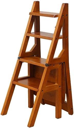 RMJAI Chaise d'escalier pliante en bois massif Accueil Multi-function escabeau Escabeau en bois échelle ascendante échelle Ladder Creative Ladder Chair Escabeau multifonctionnel (Couleur   A)
