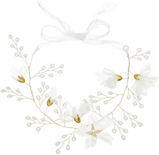 Lurrose 1PC Wedding Pearl Headpiece Hair Accessories Headband Bridal with Ribbon Grenadine Flower Headdress for Party Decoration