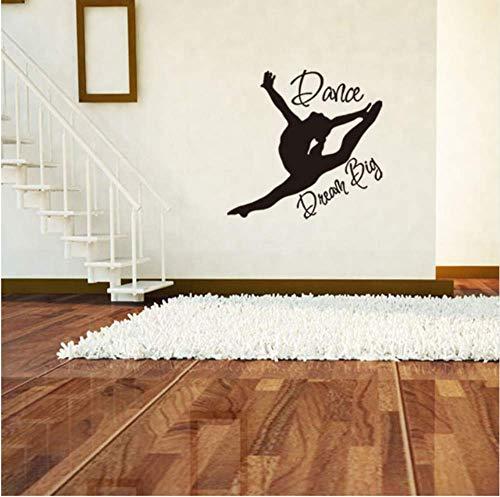 Balletttänzerin Wandtattoo - Ballerina Dekor - Ballett Silhouette Girls Dream Big Dance Aufkleber 57X55Cm