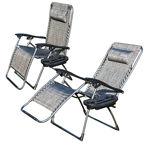 ANEAR 2er Set Liegestuhl Klappbar Camping Stuhl Klappsessel mit Getränke-Tablett | Abnehmbaren Kopfkissen | Atmungsaktiven Liegefläche | Wippfunktion Klappstuhl Garten Super Bequeme Stühle - Grau