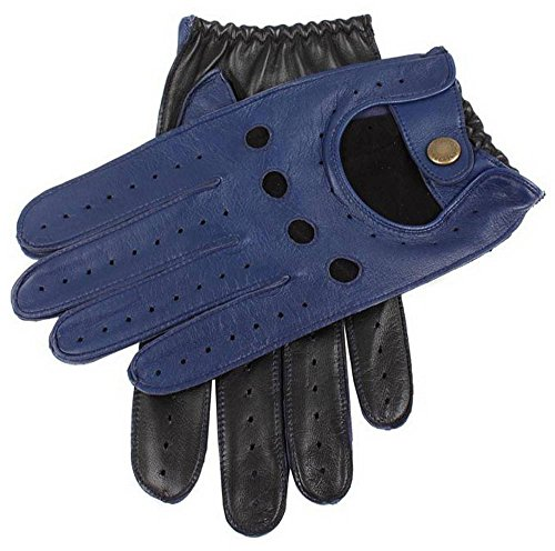 Dents Bleu Royal/Noir Deux gants de conduite en cuir Tone - Grand de
