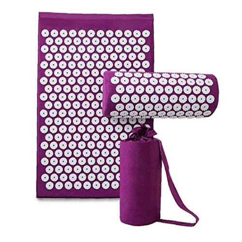 Acupressure Mat and Pillow Set, Acupuncture Massage Mat for Back&Neck Pain Relief, Stress Reduction Massage Pad with Carrying Bag
