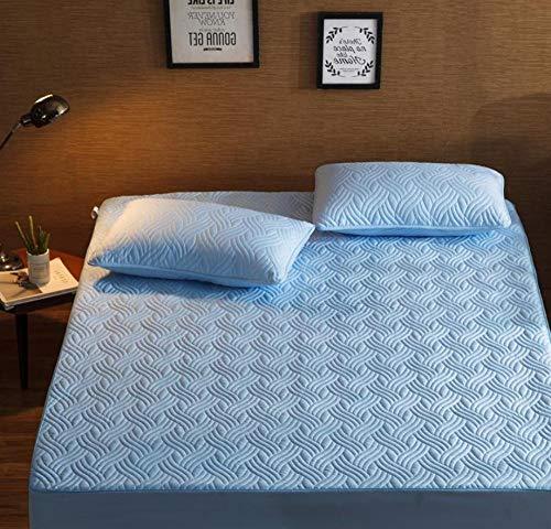 XLMHZP Protector de colchón,Ropa de Cama de Dibujos Animados Acolchada Funda de colchón Impermeable sábana Gruesa cálida sábana Grande Lavable Cama Doble Individual-A_180x200cm+30cm
