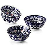 Cereal Bowls Ceramic, ZONESUM 6' Serving Bowls Set of 4, Ideal as Cereal Bowls, Snack, Rice and Soup Bowls, Microwave and Dishwasher Safe 20 Oz Bowls, Vintage Blue