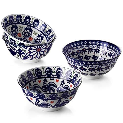 ZONESUM Cereal Bowls Ceramic, 6' Serving Bowls Set of 4, Ideal as Cereal Bowls, Soup, Snack, Rice and Salad Bowls, Microwave and Dishwasher Safe 20 Oz Bowls, Vintage Blue