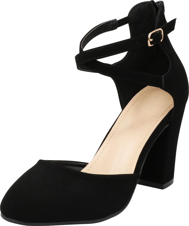 Cambridge Select Women's Closed Toe D'Orsay Crisscross Ankle Strap Back Zip Chunky Block High Heel Pump