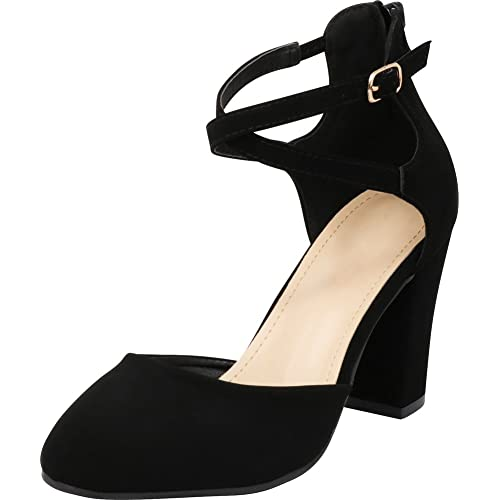 c08477775572 Cambridge Select Women s Closed Toe D Orsay Crisscross Ankle Strap Back Zip Chunky  Block High