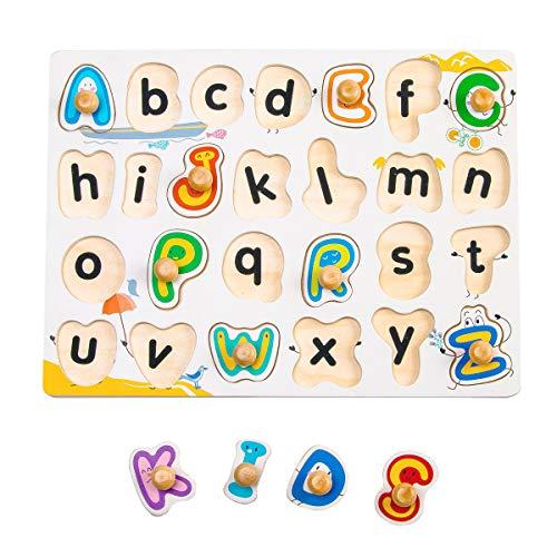 ROBUD 木製パズル 幼児知育玩具 赤ちゃん アルファベットゲーム モンテッソーリ おもちゃ パズル 形合わせ 積み木 モンテッソーリ 入園祝い 形認識 カラフル 学習玩具 ブロックおもちゃ 誕生日木製おもちゃ 英語 子供向けパズル