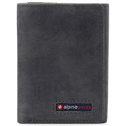 Alpine Swiss Leon Mens RFID Safe Trifold Wallet Cowhide Leather Comes in a Gift Box Gray