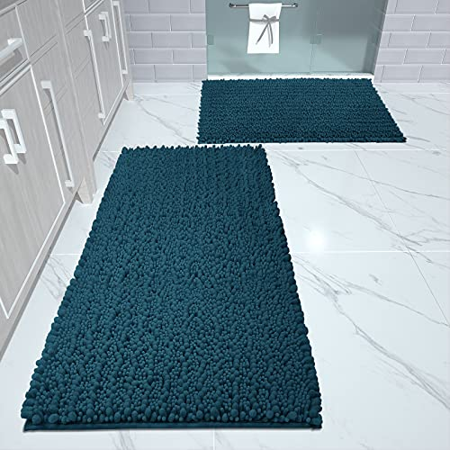 Yimobra Luxury Chenille Bathroom Floor Rug Mat Set, Extra Soft Shaggy Bath Rugs 2 Piece, Non Slip Machine Washable Quick Dry Large Plush Mats for Tub Shower, 17 x 24 + 44.1 x 24 Inches, Peacock Blue