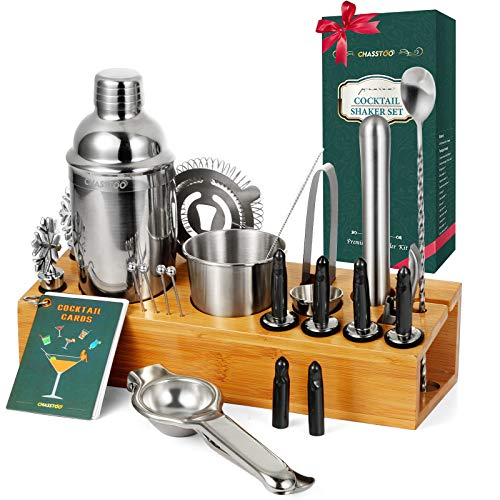 CHASSTOO Mixology Bartender Kit 28 Pieces Cocktail Shaker Set with Bamboo Stand,Bar Accessories Set with Cocktail Recipe Cards,Bar Tools Kit for Home Mixing Experience