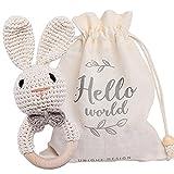 Youuys Sonajero de madera para bebé con diseño de conejito de ganchillo, juguete para bebé con agarre de mano, lindo ganchillo con sonido para 3 6 9 12 meses y regalo para recién nacido