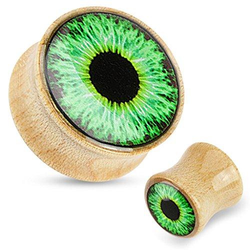 (12 mm) Druck Grüne Eyeball Dome gekrönt mit organischen Rinde Holz Flesh Tunnel-Ohr-Ohrring-Ohrring