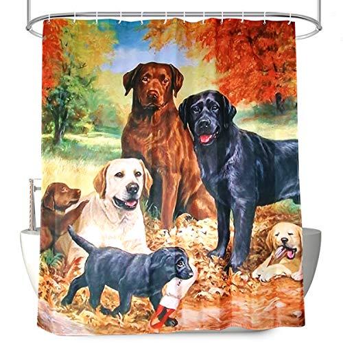 Frebw Stoff-Duschvorhang-Set, naturfarben, Herbst-H&, Dekor, mit 12 Haken, wasserdicht, waschmaschinenfest, 72 x 72 cm