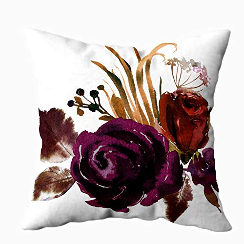 Art Pillow Case,HerysTa Home Decorative Cotton Pillow Covers 18X18inch Invisible Zipper Cushion Cases Watercolor Fall Floral Corner Bouquet Roses Peonies Leaves Boho Square Sofa Bed Décor,Purple Brown