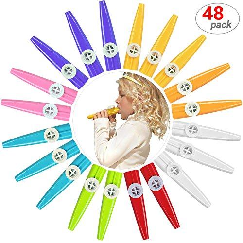 48 Pack Plastic Kazoos Musical Instruments with 48pcs Kazoo Flute Diaphragms Assorted Color Party Favors Gifts Kazoo Kid Random 8 Colors