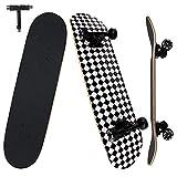 NPET Monopatín completo de madera para niños adultos, adolescentes, 7 capas de madera de arce, doble puente, cruiser Concave Trick Skateboard Herramienta en T, 80 x 20 cm, diamante negro y blanco