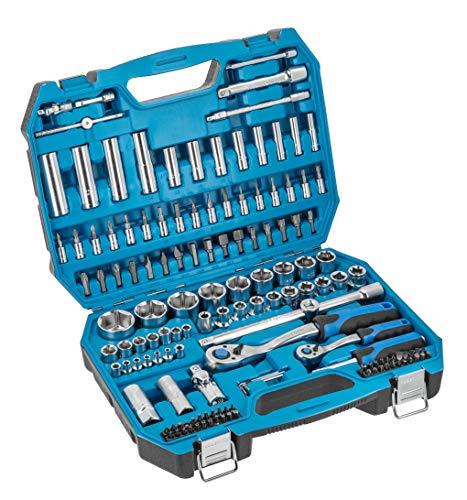 Högert Werkzeugset Werkzeugkoffer – Werkzeugsatz Werkzeug Tools Steckschlüsselsatz Schraubendreher Ratsche – Schwarz-blau, 1/4″, 1/2″, HT1R440, 144-tlg